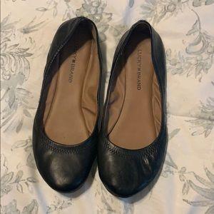 Women's Lucky Brand black leather flats